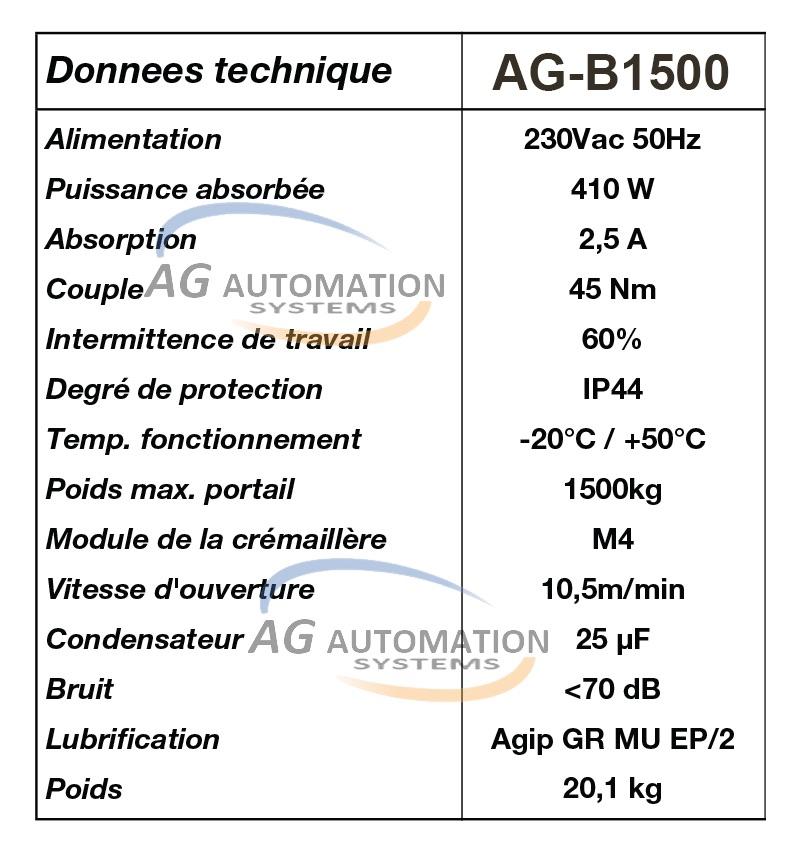 thông số kỹ thuật beninca ag-b1500
