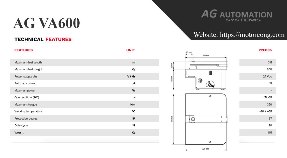 thông số kỹ thuật motor cổng v2 agva600