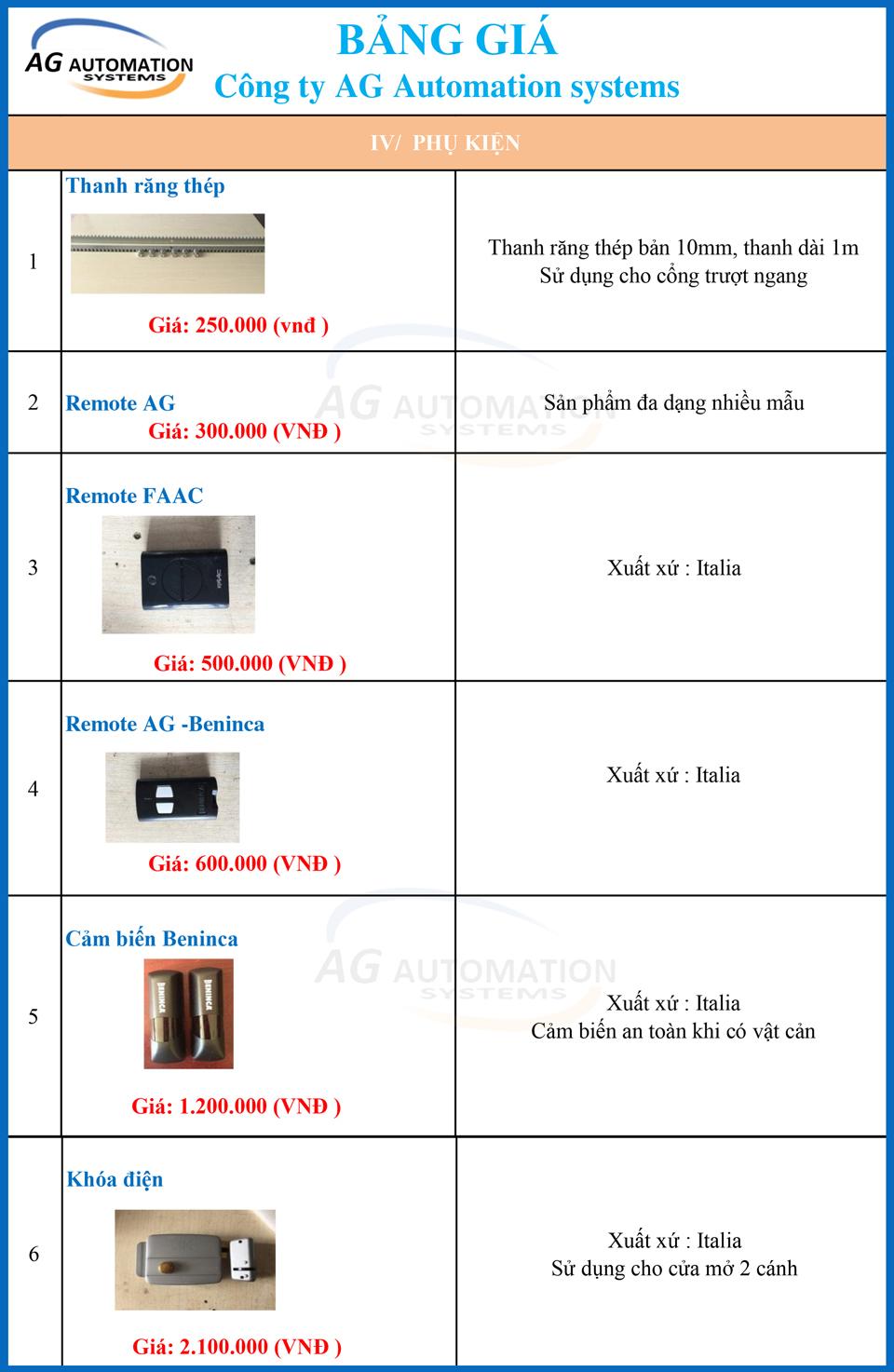 bảng giá phụ kiện cho motor cửa cổng